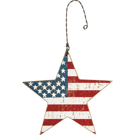"Ornament - Flag Star - 3.25"" x 3.25"" x 0.25"" - Wood, Wire"