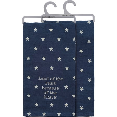 "Dish Towel - Land Of The Free Because Of The Brave - 20"" x 26"" - Cotton, Linen"