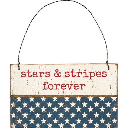 "Ornament - Stars & Stripes Forever - 5"" x 3"" x 0.25"" - Wood, Wire"