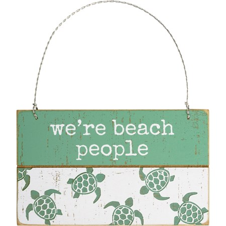 "Ornament - We're Beach People - 5"" x 3"" x 0.25"" - Wood, Wire"