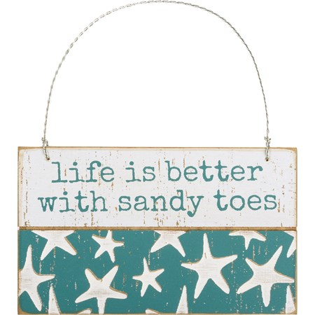 "Ornament - Life Is Better With Sandy Toes - 5"" x 3"" x 0.25"" - Wood, Wire"