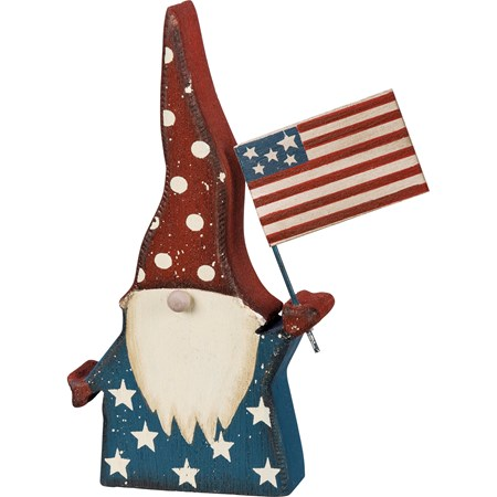 "Chunky Sitter - Gnome And American Flag - 4.50"" x 6"" x 1"" - Wood, Metal"