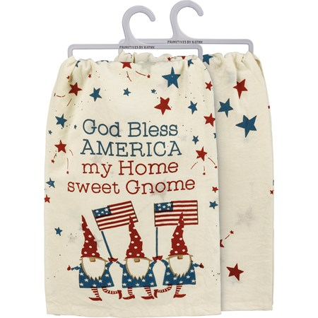 "Dish Towel - God Bless America My Home Sweet Gnome - 28"" x 28"" - Cotton"