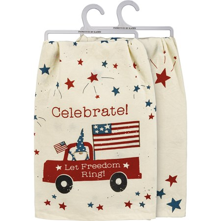 "Dish Towel - Celebrate Let Freedom Ring - 28"" x 28"" - Cotton"