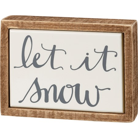 "Box Sign Mini - Let It Snow - 4"" x 3"" x 1"" - Wood, Enamel"