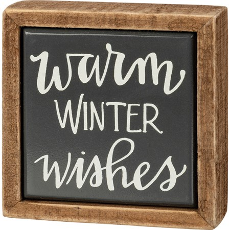 "Box Sign Mini - Warm Winter Wishes - 3"" x 3"" x 1"" - Wood, Enamel"