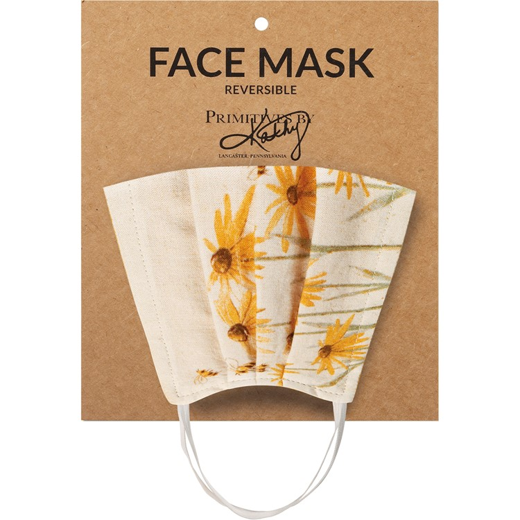 "Face Mask - Coneflowers - 8"" x 5.50"" - Cotton, Elastic"