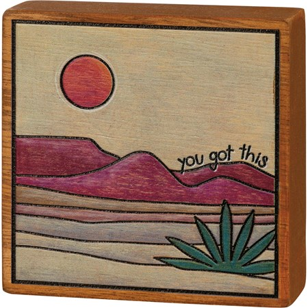 "Block Sign - You Got This - 3.50"" x 3.50"" x 1"" - Wood"