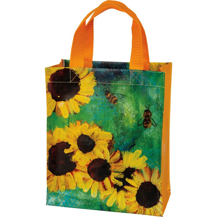 "Daily Tote - Sunflowers - 8.75"" x 10.25"" x 4.75"" - Post-Consumer Material, Nylon"