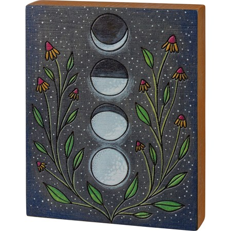 "Block Sign - Moon Phases - 4.75"" x 6"" x 1"" - Wood"