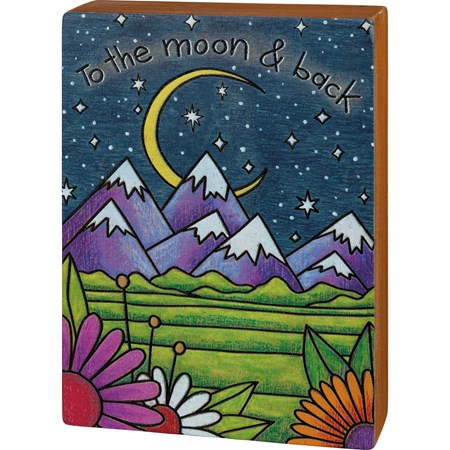 "Box Sign - To The Moon & Back - 5.75"" x 8"" x 1.75"" - Wood"