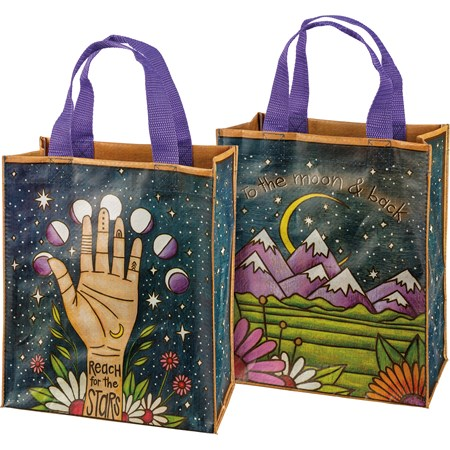 "Daily Tote - To The Moon & Back - 8.75"" x 10.25"" x 4.75"" - Post-Consumer Material, Nylon"