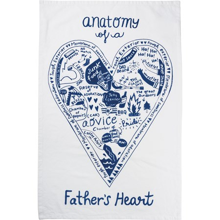 "Dish Towel - Anatomy Of A Father's Heart - 18"" x 28"" - Cotton"