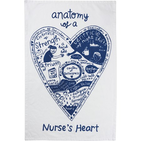 "Dish Towel - Anatomy Of A Nurse's Heart - 18"" x 28"" - Cotton"