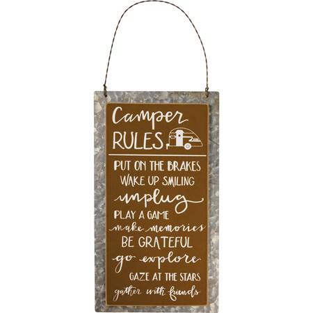 "Hanging Decor - Camper Rules - 5.25"" x 9.50"" x 0.25"" - Wood, Metal, Wire"