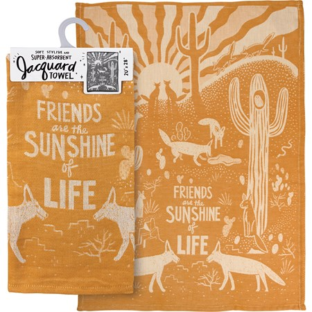 "Dish Towel - Friends Are The Sunshine Of Life - 20"" x 28"" - Cotton"