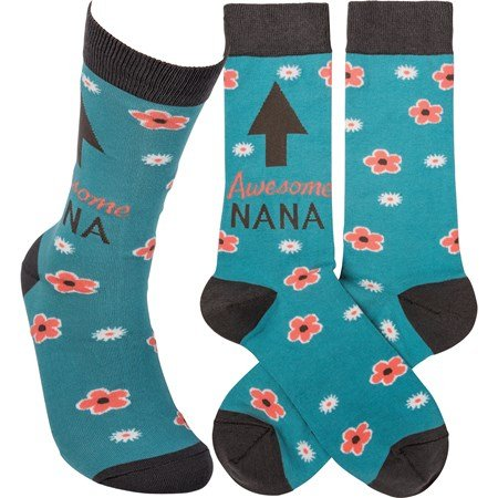 Socks - Awesome Nana - One Size Fits Most - Cotton, Nylon, Spandex