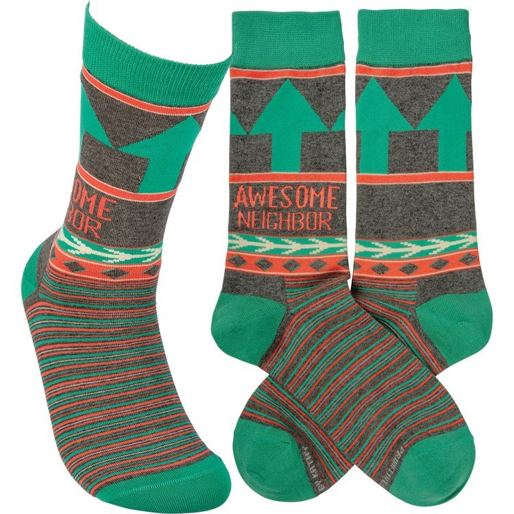 Socks - Awesome Neighbor - One Size Fits Most - Cotton, Nylon, Spandex