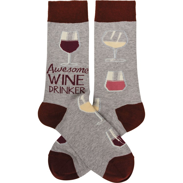 Socks - Awesome Wine Drinker - One Size Fits Most - Cotton, Nylon, Spandex