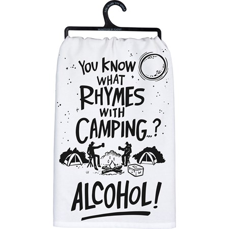 "Dish Towel - Rhymes With Camping Alcohol - 28"" x 28"" - Cotton"