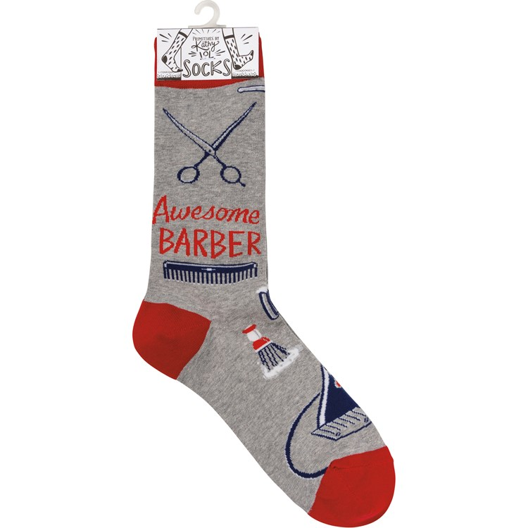 Socks - Awesome Barber - One Size Fits Most - Cotton, Nylon, Spandex