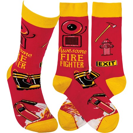 Socks - Awesome Fire Fighter - One Size Fits Most - Cotton, Nylon, Spandex