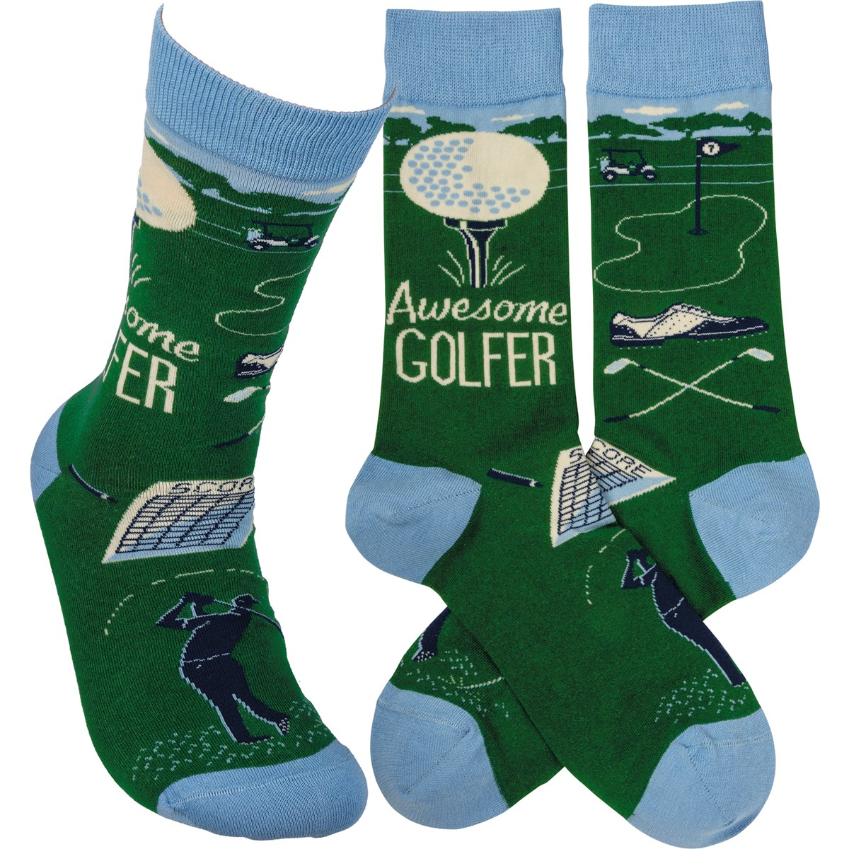 Socks - Awesome Golfer - One Size Fits Most - Cotton, Nylon, Spandex