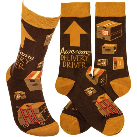 Socks - Awesome Deliverey Driver - One Size Fits Most - Cotton, Nylon, Spandex