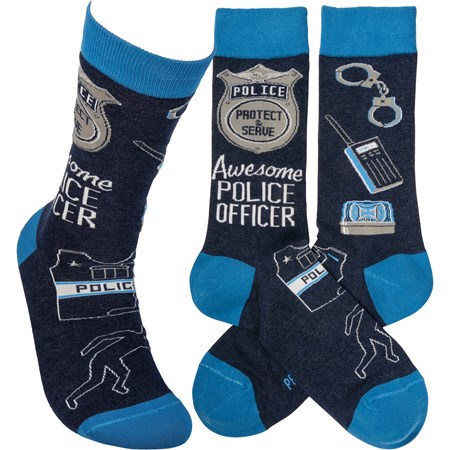 Socks - Awesome Police Officer - One Size Fits Most - Cotton, Nylon, Spandex