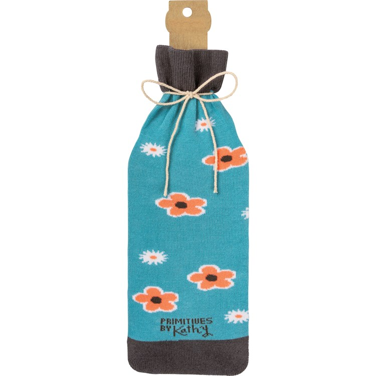 "Bottle Sock - Because You Can't Drink Flowers - 3.50"" x 11.25"", Fits 750mL to 1.5L bottles - Cotton, Nylon, Spandex"