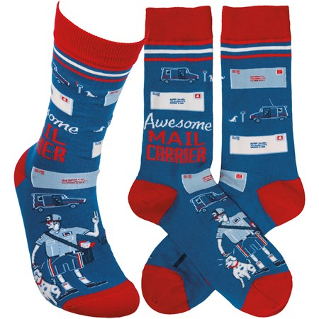 Socks - Awesome Mail Carrier - One Size Fits Most - Cotton, Nylon, Spandex