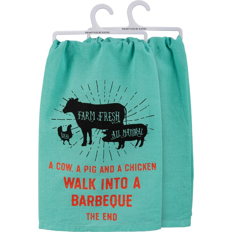 "Dish Towel - Walk Into A Barbeque The End - 28"" x 28"" - Cotton"