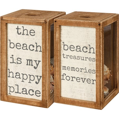 "Shell Holder - The Beach Is My Happy Place - 4.25"" x 7.25"" x 4.25"" - Wood, Glass"