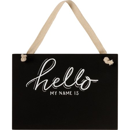 "Ornament - Hello My Name Is - 5.50"" x 4"" x 0.25"" - Wood, Fabric"