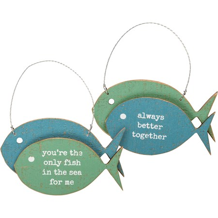 "Ornament Set - Only Fish In The Sea For Me - 4"" x 2.50"" x 0.50"" - Wood, Wire"