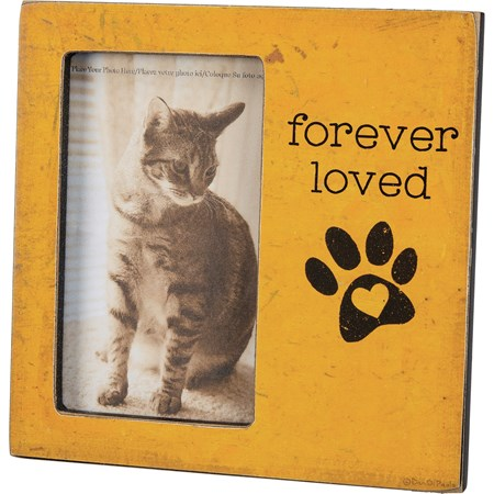 "Plaque Frame - Forever Loved - 6"" x 6"" x 0.50"", Fits 3"" x 5"" Photo - Wood, Paper, Glass, Metal"