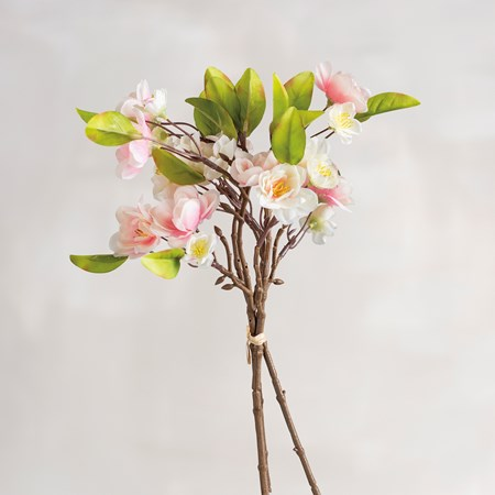 "Bouquet - Cherry Blossoms - 13"" Tall - Plastic, Fabric, Wire"