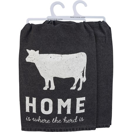 "Dish Towel - Home Is Where The Herd Is - 28"" x 28"" - Cotton"