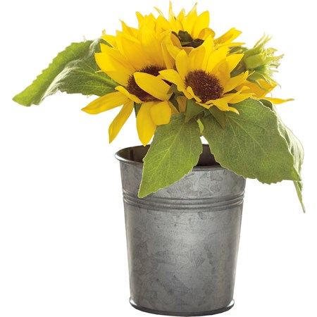 "Planter - Sunflowers - 7"" x 8"" x 7"" - Plastic, Fabric, Wire, Metal"