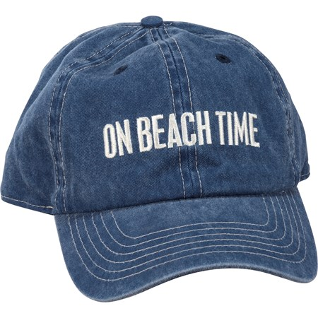 Baseball Cap - On Beach Time - One Size Fits Most - Cotton, Metal