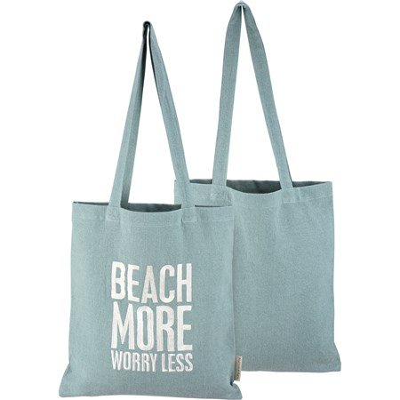 "Tote - Beach More Worry Less - 14"" x 15.50"", 12"" Handle Drop - Cotton"