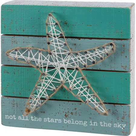 "String Art - Not All The Stars Belong In The Sky - 6"" x 6"" x 1.75"" - Wood, Metal, String, Jute"