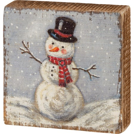 "Block Sign - Snowman - 3"" x 3"" x 1"" - Wood"