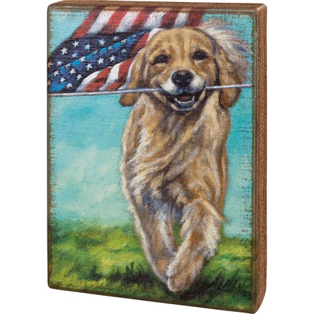 "Box Sign - Running Dog With Flag - 7"" x 10"" x 1.75"" - Wood"