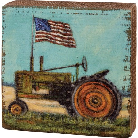 "Block Sign - Tractor With Flag - 3.50"" x 3.50"" x 1"" - Wood"