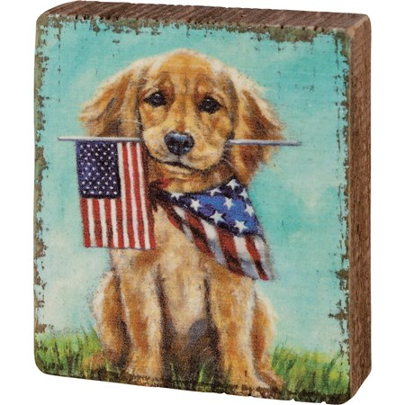 "Block Sign - Puppy Flags - 3"" x 3.50"" x 1"" - Wood"