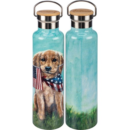 "Insulated Bottle - Puppy Flags - 25 oz., 2.75"" Diameter x 11.25"" - Stainless Steel, Bamboo"