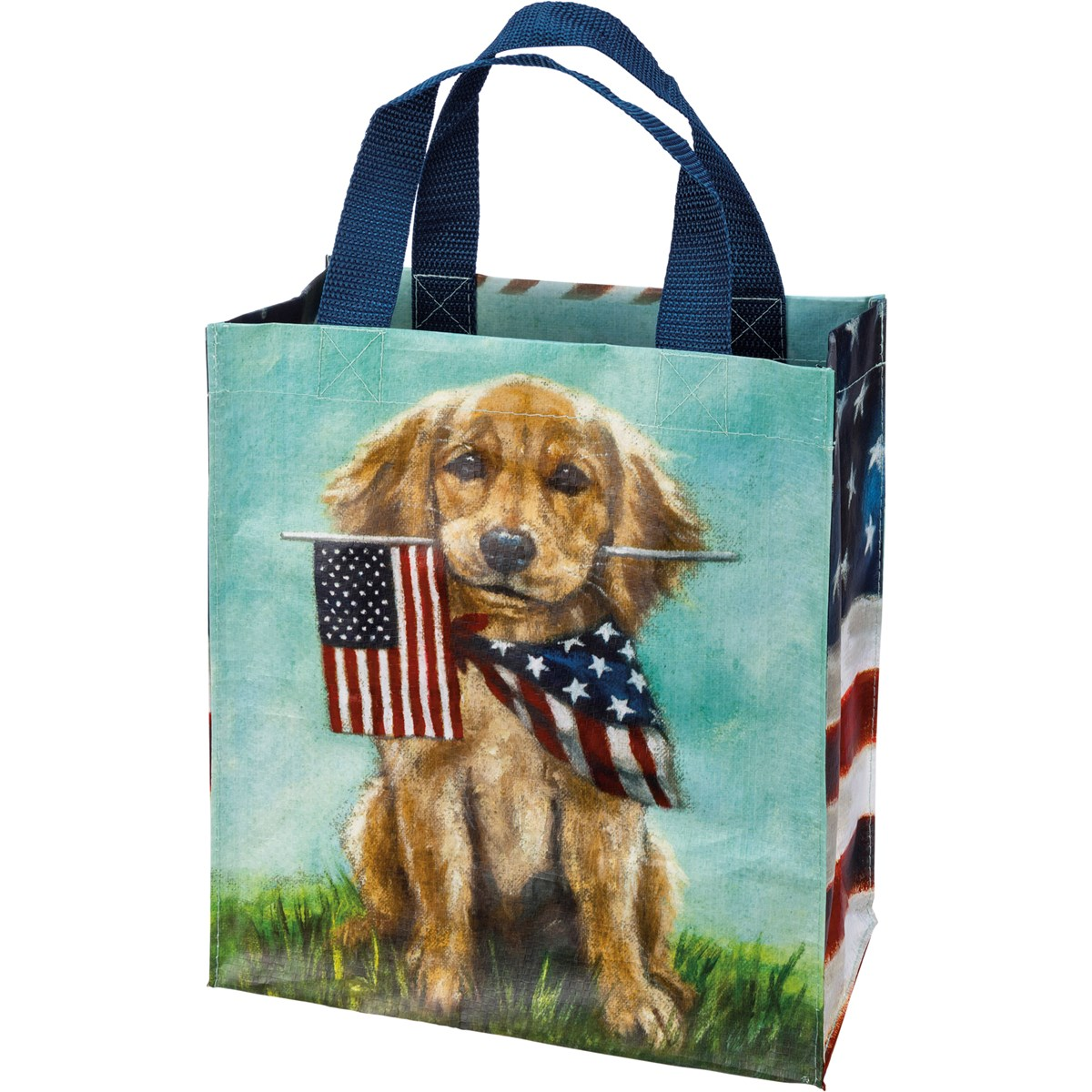 "Daily Tote - Dogs And Flags - 8.75"" x 10.25"" x 4.75"" - Post-Consumer Material, Nylon"