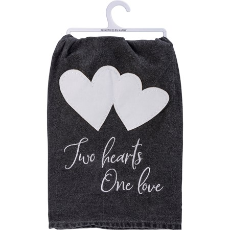 "Dish Towel - Two Hearts One Love - 28"" x 28"" - Cotton"