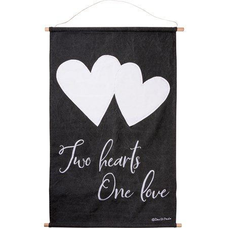 "Wall Decor - Two Hearts One Love - 24"" x 40"" x 0.75"" - Cotton, Wood, Jute, Metal"